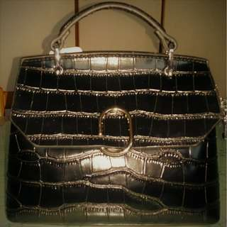 👜 Stone Textured Full Genuine Leather Bag BLACK