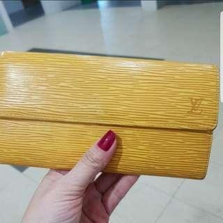 💯Authentic Louis Vuitton wallet EPI leather pochettpoltomonecredi a-rank wallet yellow women's LOUIS VUITTON