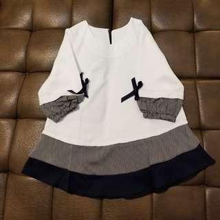 雪紡白色藍色OL上班衫