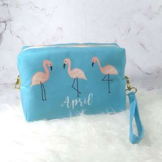 Personalised 3in1 Canvas pouch, clutch and sling bag (flamingo01)