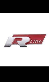 R Line VW Golf Emblem