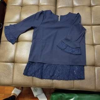藍色斯文雪紡衫
