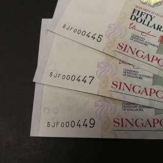 (NEW) Singapore Portrait $50, Low Serials Number, GEM UNC