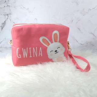 Personalised 3in1 canvas pouch, clutch and cross body bag (bunny02)