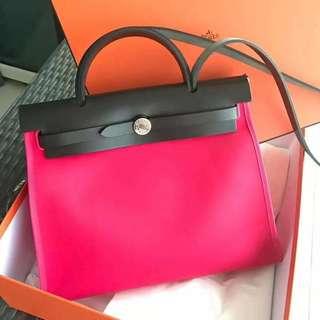 正品 全新 Hermes Herbag 31 i6 桃粉紅色手挽側揹袋
