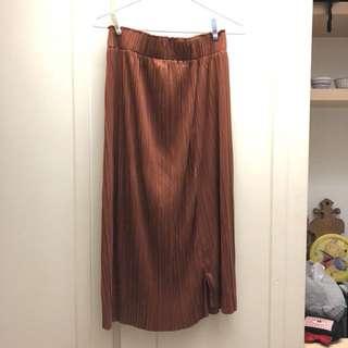 磚橘紅類麂皮長裙