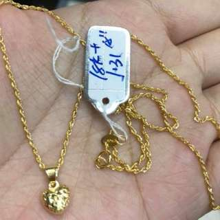18K SAUDI GOLD NECKLACE with PENDANT ''