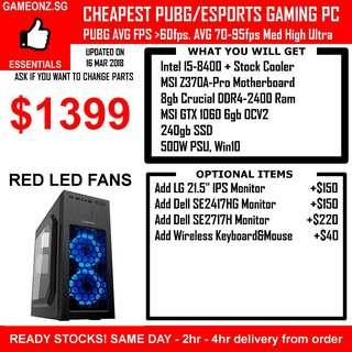 ESPORTS PUBG GAMING PC INTEL I5-8400 8GB RAM SSD NVIDIA GEFORCE GTX 1060 6GB GTX1060 CSGO LOL DOTA2 OVERWATCH BATTLEFIELD FIFA GMAX CUSTOM DESKTOP RIG