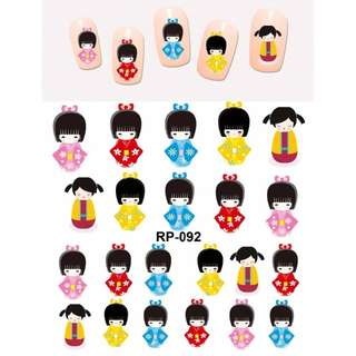 NAIL ART BEAUTY NAIL STICKER WATER DECAL SLIDER CARTOON JAPANESE TRADITIONAL KIMONO GEISHA DOLLS  RP091-096