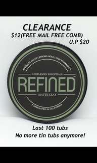 CLEARANCE $12 FREE MAIL FREE COMB REFINED MATTE CLAY TIN TUB 100ML
