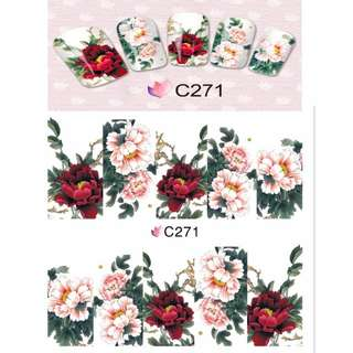 4 PACKS / LOT FULL COVER ABTRACT FLOWER VINE GRASS TATTOOS STICKER WATER DECAL NAIL ART C268-271