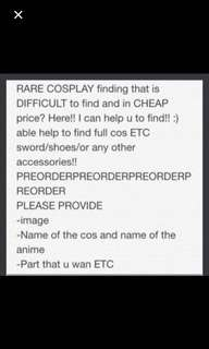 Help you find cosplay