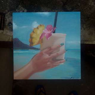 Summer-themed oil painting on canvas