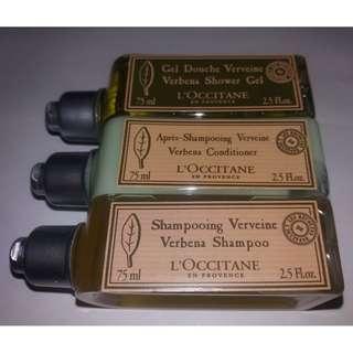 BN L'OCCITANE Verbena Verveine Trio Shampoo Conditioner Shower Gel Set - 75ml