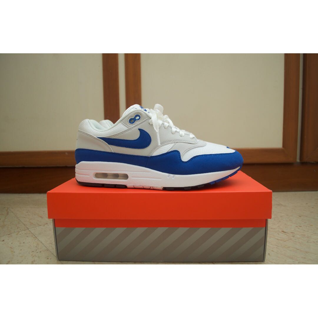 low priced 61b1b 9fcc0 2017 March Nike Air Max 1 Anniversary WHITE ROYAL BLUE 9.5 atmos red safari  viotech OG masters DS, Men s Fashion, Footwear on Carousell