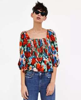 European and American style flower printing laminated decorative stretch blouse puff sleeve blouse