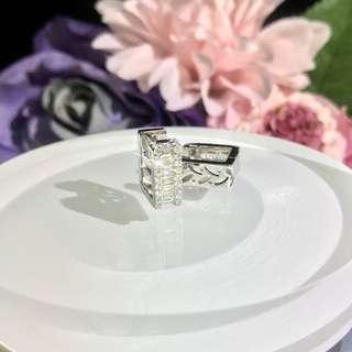 18K 梯方鑽石耳環