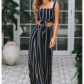 Striped Jumpsuit Crop