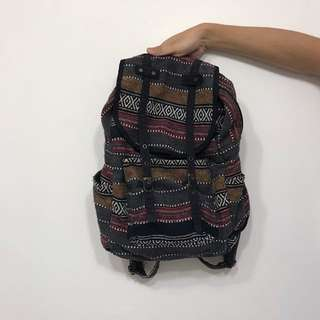 bohemian tribal stiched foldover backpack / rucksack