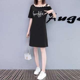 2018 summer loose large size long section off-shoulder short-sleeved T-shirt skirt dress