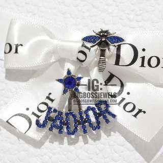 Silver Bee Star Blue Diamond Like Crystals Vintage Style Earrings Ear Studs