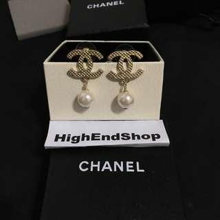 格紋 珍珠耳環