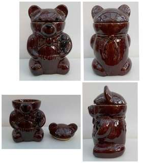 Vintage P & K Dark Brown Ceramic Bear Biscuit / Cookie Jar