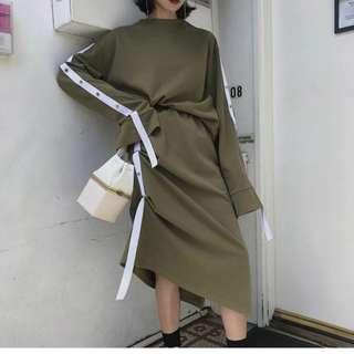 🚚 VM 春裝2018新款 時尚潮流 凹造型 垂帶設計 兩件式 衛衣休閒上衣+裙子 套裝