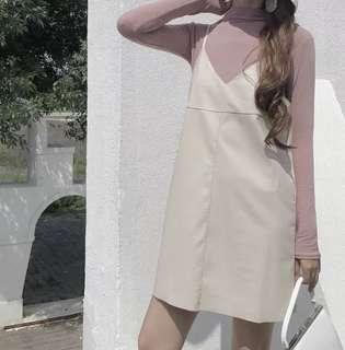 (More cols) PU Leather Strap Dress