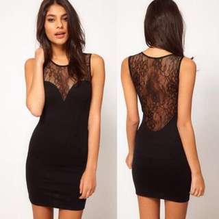 ASOS PETITE Exclusive Bodycon Dress With Lace Insert - Black / AU 6
