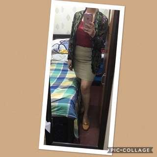 (Bundle) maroon top, floral blazer & brown skirt