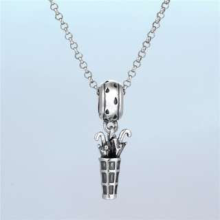 Code MS444 - Umbrellas In The Basket 100% 925 Sterling Silver Charm, Chain Is Not Included, Compatible With Pandora