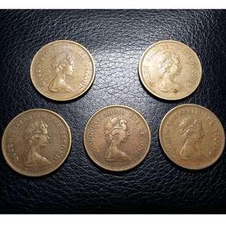 一網打盡 女皇頭 (四) 1977~80伍毫 5個幣