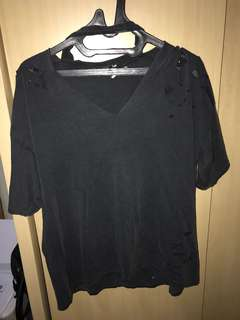 Pull and bear ripped chocker oversize shirt