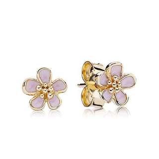 PANDORA 14K Cherry Blossom Earrings (one left)