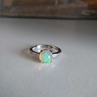 925純銀蛋白石 澳寶 歐泊 鋯石 蘇聯石 戒指 介子 開口 opal silver ring