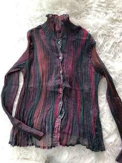 Issey miyake striped blouse