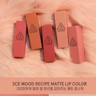 [Cheapest!!] 3ce Mood Recipe Matte Lipstick
