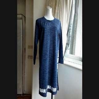 韓版 港風印字雙開叉長版T恤洋裝