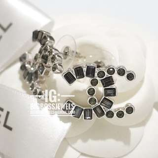 Black Grey Diamond Like Crystals Earrings Ear Studs