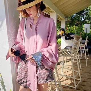 ioz 春 甜美粉紅燈籠長袖雪紡襯衫