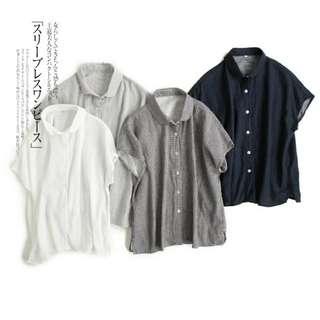 無印風二重紗棉質親膚透氣顯瘦修身短袖無袖小圓領襯衫