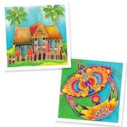 Batik Painting 2-in-1 Box- Kampung House and Wau
