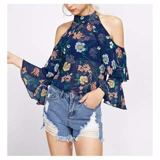 Cut Out Shoulder Frill Layered Top #HUAT50SALE