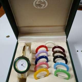 GUCCI 經典金色手錶100%真品 75%新