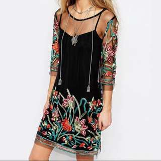 Embroided floral mesh dress