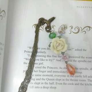 Handmade Yellow Rose Metal Bookmark