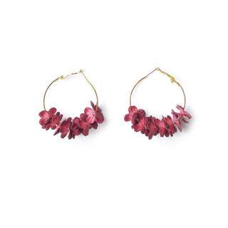 Wine red lyla flower petals bloom hoop earrings