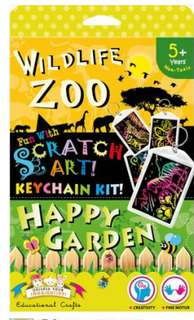 Scratch Art Keychain Kit - Zoo and Garden