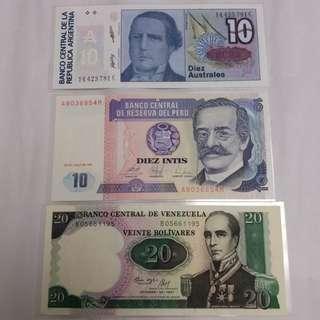 全新直版南美三國紙幣(已絕版)